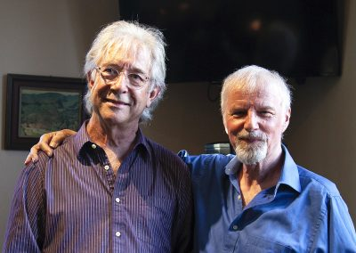 Norm MacPherson and I at the Boy On A Bike listening party, happy after a wonderful response to the album.